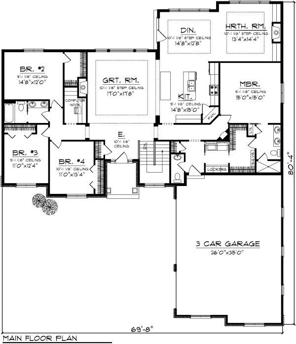 Ranch Floor Plan - Main Floor Plan Plan #70-1123