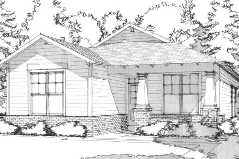 Bungalow Style House Plan - 2 Beds 2 Baths 1251 Sq/Ft Plan #63-296 Exterior - Front Elevation