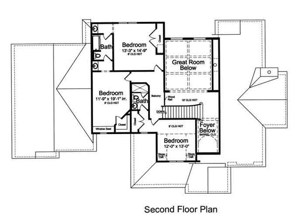 European Floor Plan - Upper Floor Plan Plan #46-485