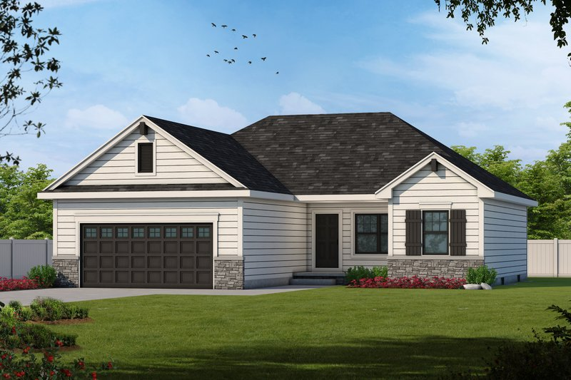 Craftsman Style House Plan - 3 Beds 2 Baths 1373 Sq/Ft Plan #20-2181