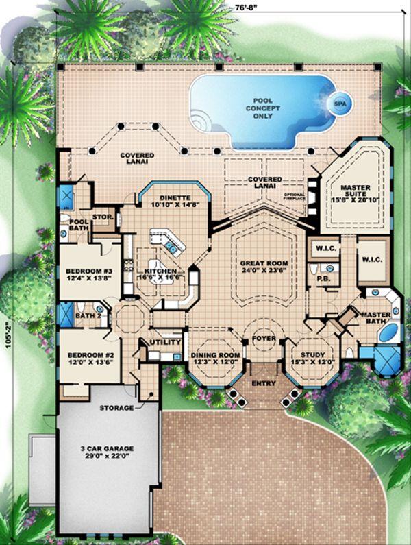 Mediterranean Floor Plan - Main Floor Plan Plan #27-442