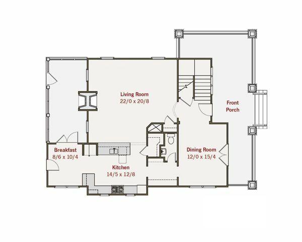 Craftsman Style House Plan - 3 Beds 2.5 Baths 2572 Sq/Ft Plan #461-15 Floor Plan - Main Floor Plan