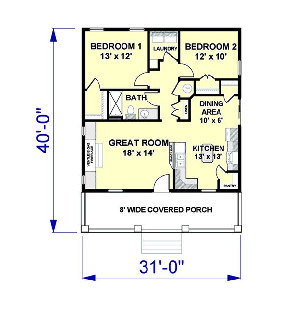Country Style House Plan - 2 Beds 1 Baths 992 Sq/Ft Plan #44-191 Floor Plan - Main Floor Plan