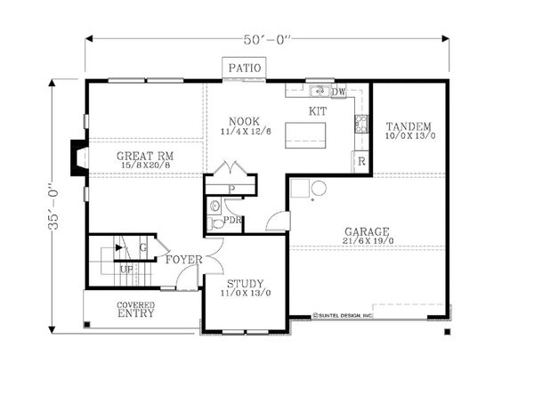 Craftsman Floor Plan - Main Floor Plan Plan #53-627