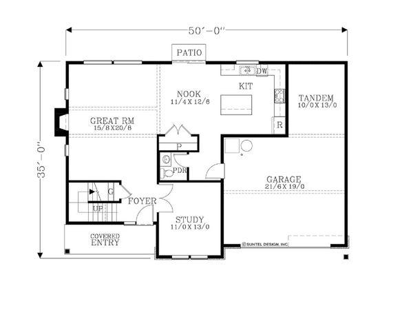 Craftsman Floor Plan - Main Floor Plan Plan #53-627