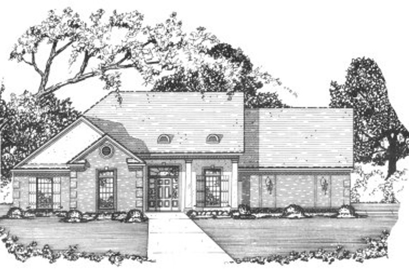 Mediterranean Style House Plan - 3 Beds 2 Baths 1490 Sq/Ft Plan #36-317 Exterior - Front Elevation
