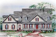 Southern Style House Plan - 4 Beds 4.5 Baths 4444 Sq/Ft Plan #54-109 Exterior - Front Elevation