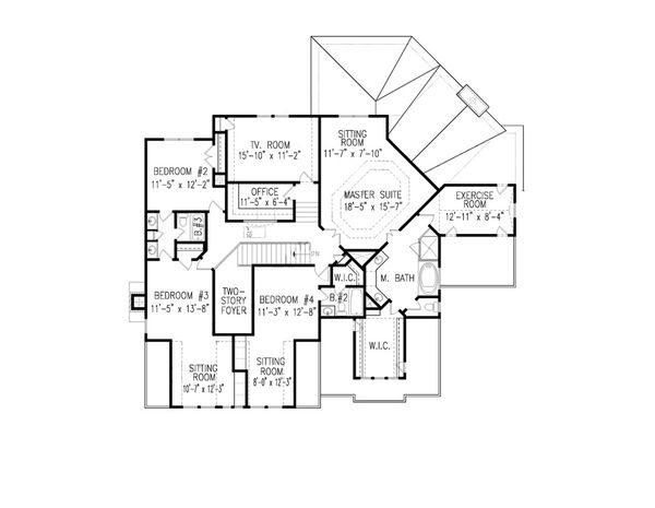 Farmhouse Floor Plan - Upper Floor Plan Plan #54-407