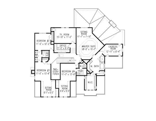 Farmhouse Floor Plan - Upper Floor Plan #54-407