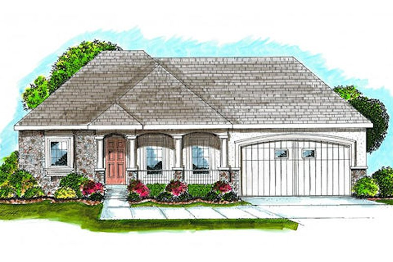 European Style House Plan - 2 Beds 2 Baths 1696 Sq/Ft Plan #455-149 Exterior - Front Elevation