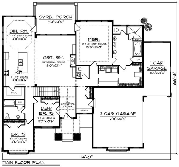 Ranch Floor Plan - Main Floor Plan Plan #70-1223