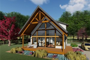 Cabin Exterior - Front Elevation Plan #126-181
