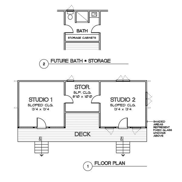 Modern Style House Plan - 2 Beds 1 Baths 684 Sq/Ft Plan #449-20 Floor Plan - Main Floor Plan