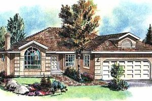 Ranch Exterior - Front Elevation Plan #18-145