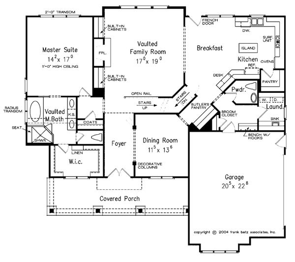Craftsman Floor Plan - Main Floor Plan Plan #927-4