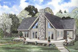 Log Exterior - Front Elevation Plan #17-469