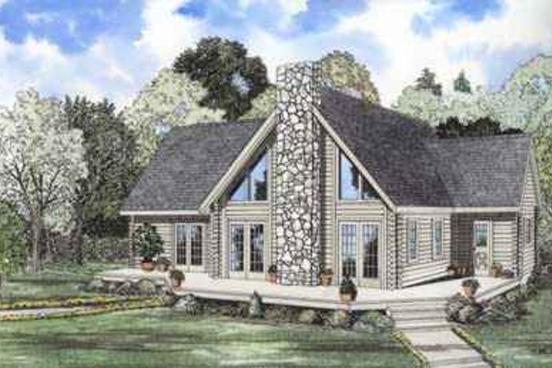 Log Style House Plan - 3 Beds 2.5 Baths 2206 Sq/Ft Plan #17-469 Exterior - Front Elevation