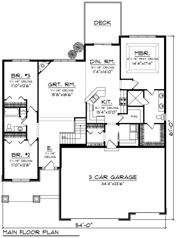 Home Plan Design - Ranch Floor Plan - Main Floor Plan #70-1244