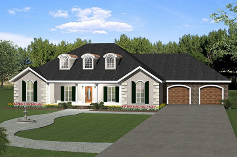 European Style House Plan - 5 Beds 3 Baths 2550 Sq/Ft Plan #44-157 Exterior - Front Elevation