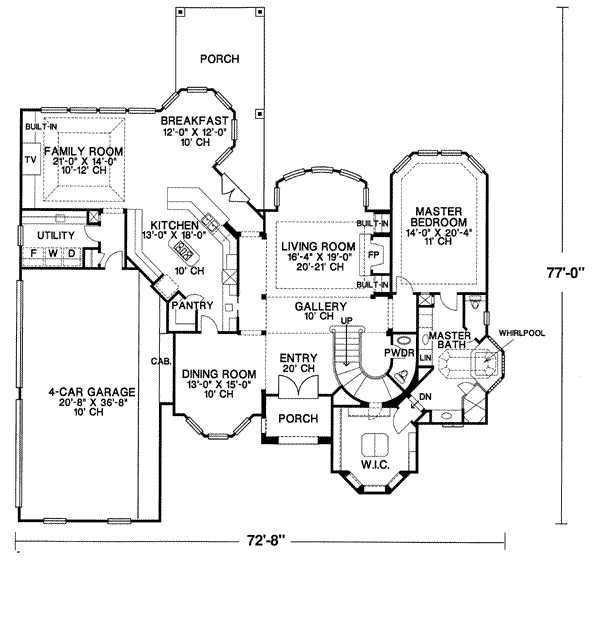 European Floor Plan - Main Floor Plan Plan #20-1183