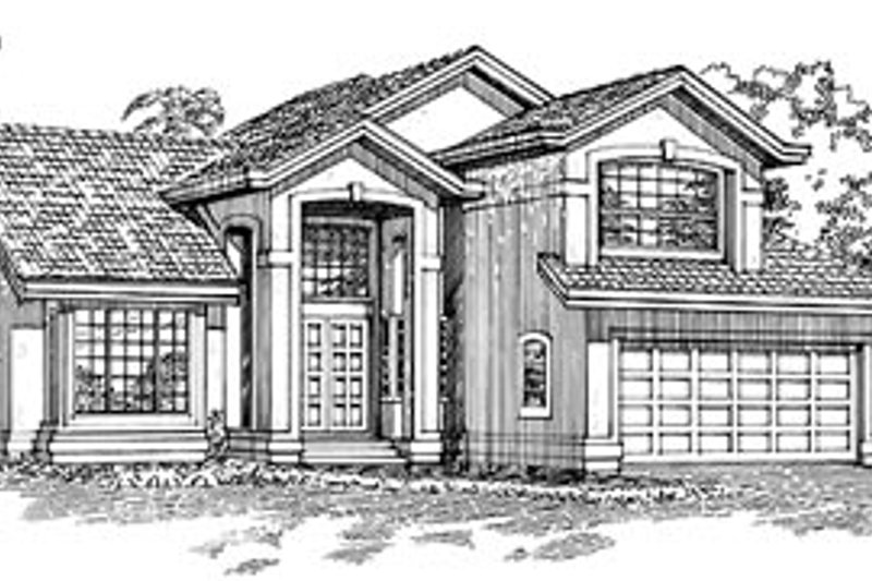 Traditional Style House Plan - 3 Beds 3 Baths 2708 Sq/Ft Plan #47-288 Exterior - Front Elevation