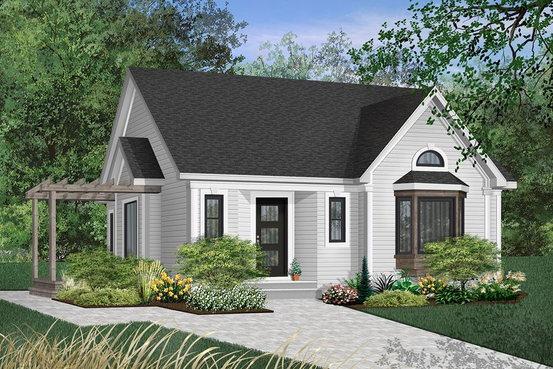 Cottage Style House Plan - 2 Beds 1 Baths 1191 Sq/Ft Plan #23-110 Exterior - Front Elevation