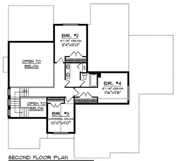 Floor Plan - Upper Floor Plan Plan #70-1104