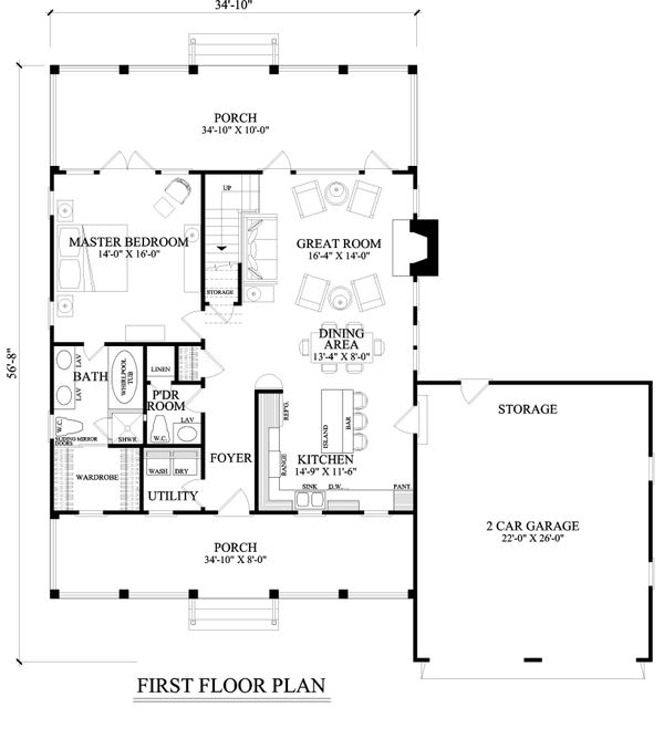 Farmhouse Floor Plan - Main Floor Plan Plan #137-273