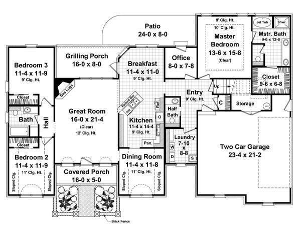 Southern Floor Plan - Main Floor Plan Plan #21-234
