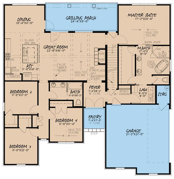 European Floor Plan - Main Floor Plan Plan #923-28
