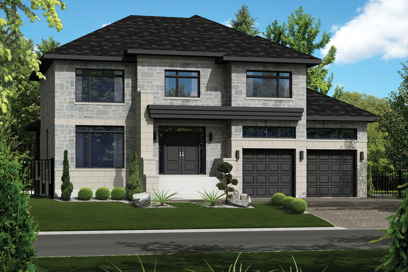 Contemporary Style House Plan - 4 Beds 2 Baths 3128 Sq/Ft Plan #25-4482 Exterior - Front Elevation