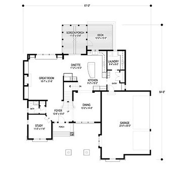 Traditional Floor Plan - Main Floor Plan Plan #56-598
