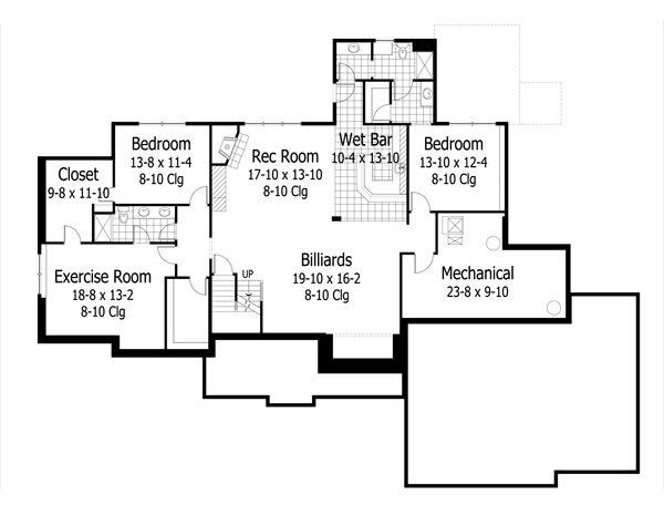 Craftsman Floor Plan - Lower Floor Plan Plan #51-501