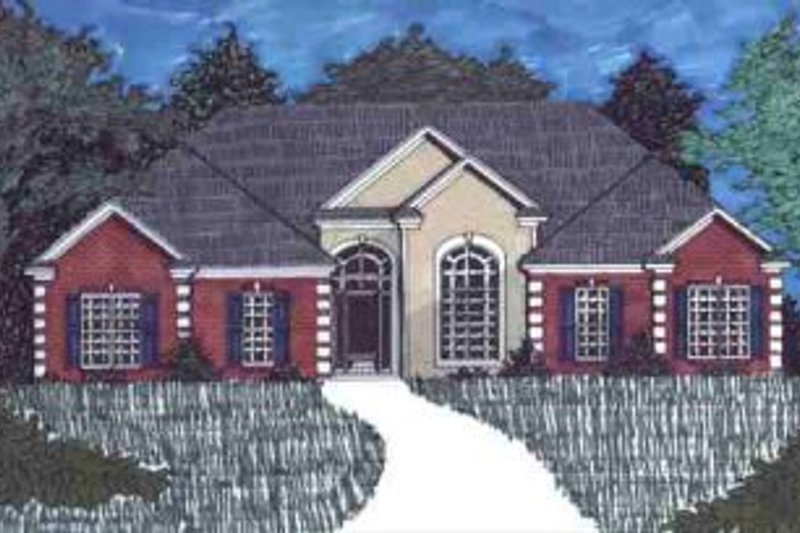 Mediterranean Style House Plan - 4 Beds 2.5 Baths 2860 Sq/Ft Plan #69-128 Exterior - Front Elevation