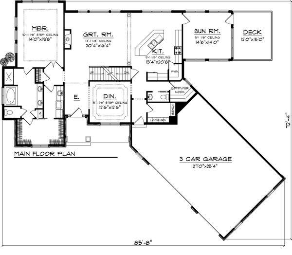 Craftsman Floor Plan - Main Floor Plan Plan #70-1059