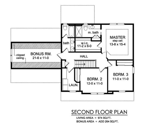 Traditional Floor Plan - Upper Floor Plan Plan #1010-229