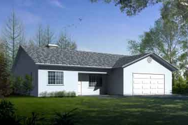 Ranch Style House Plan - 3 Beds 2 Baths 1689 Sq/Ft Plan #1-1331 Exterior - Front Elevation