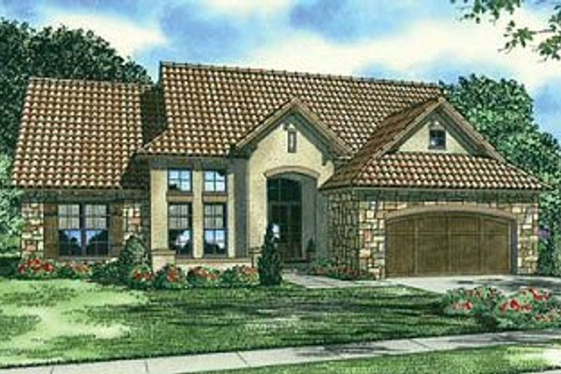 European Style House Plan - 4 Beds 3 Baths 2338 Sq/Ft Plan #17-221 Exterior - Front Elevation