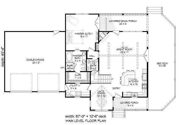 Country Floor Plan - Main Floor Plan Plan #932-261