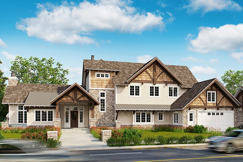 European Style House Plan - 4 Beds 3.5 Baths 3922 Sq/Ft Plan #942-38 Exterior - Front Elevation