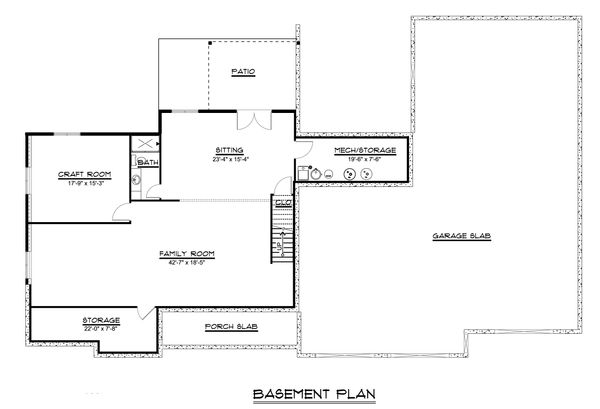 Craftsman Floor Plan - Lower Floor Plan #1064-36
