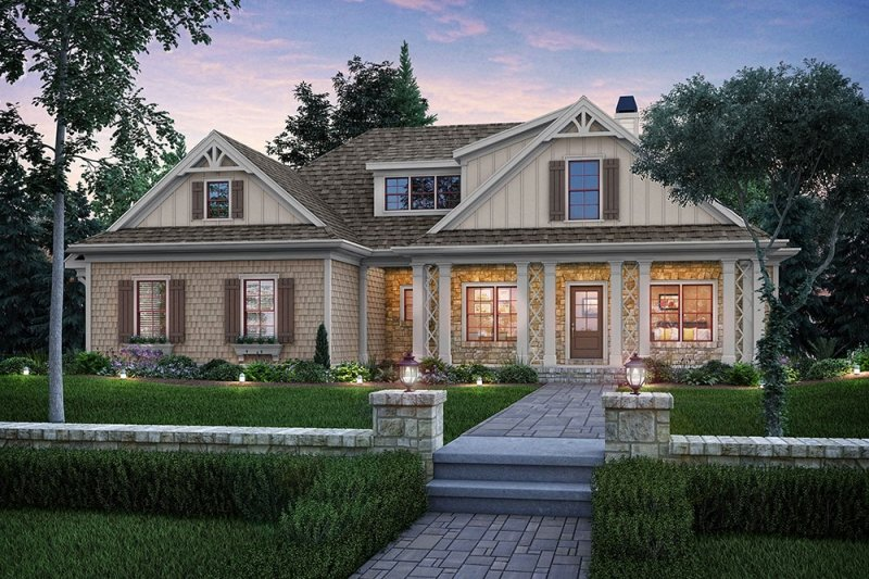 Architectural House Design - Country Exterior - Front Elevation Plan #927-17