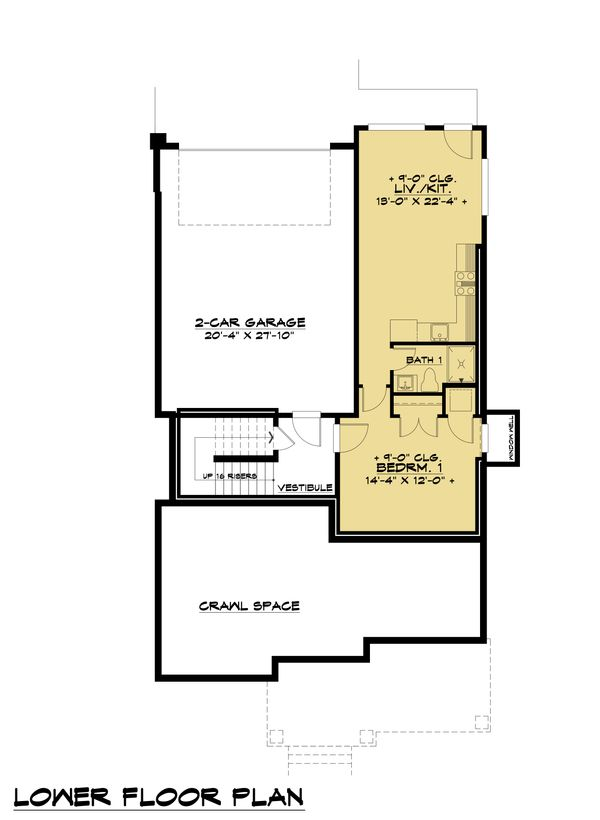 Contemporary Floor Plan - Lower Floor Plan Plan #1066-100