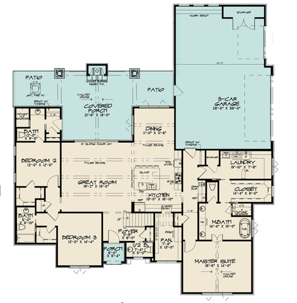 Contemporary Floor Plan - Main Floor Plan Plan #923-125