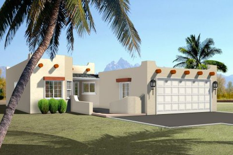Adobe / Southwestern Style House Plan - 3 Beds 2 Baths 1276 Sq/Ft Plan #1-219 Exterior - Front Elevation