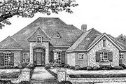 European Style House Plan - 4 Beds 3 Baths 2421 Sq/Ft Plan #310-530 Exterior - Front Elevation