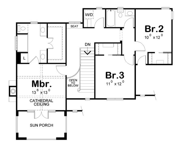 European Floor Plan - Upper Floor Plan Plan #20-2195