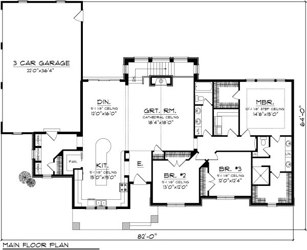 Ranch Floor Plan - Main Floor Plan Plan #70-1138
