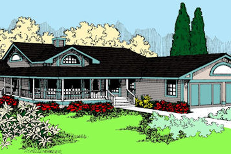 Country Exterior - Front Elevation Plan #60-644
