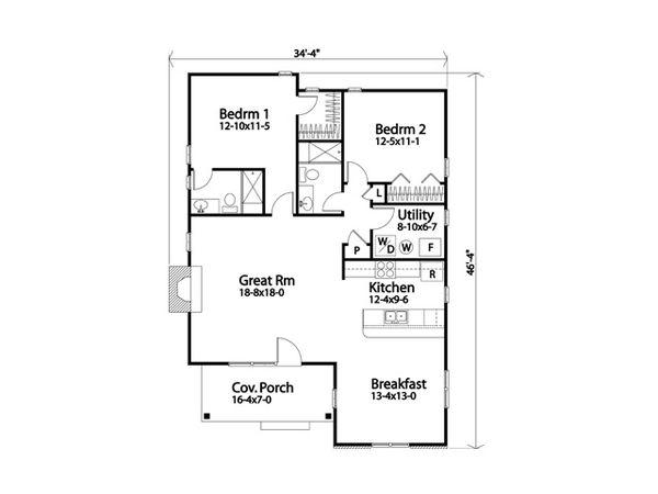 House Plan Design - Cottage Floor Plan - Main Floor Plan #22-616